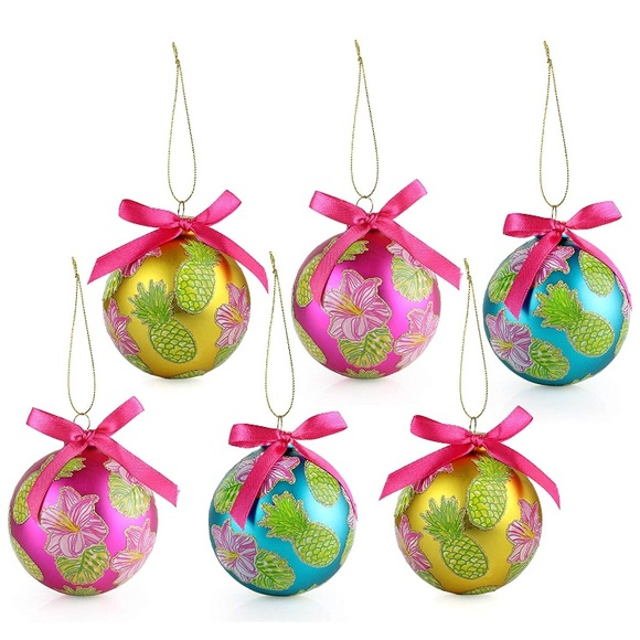 Tropical Christmas.Preppy Pineapple Tropical Christmas Ornament Set Boutique